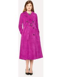 Paul Smith - Purple Suede Trench Coat - Lyst
