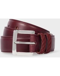 Paul Smith - Burgundy Leather Belt With Plaited Double Keeper - Lyst
