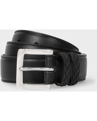 Paul Smith - Black Leather Belt With Plaited Double Keeper - Lyst