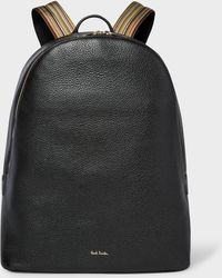 Paul Smith - Black Leather Backpack With Signature Stripe Straps - Lyst