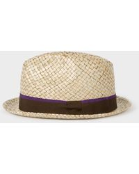 59f27a6e25b2b6 Paul Smith Men's Petrol Wool-felt Trilby With Feather in Blue for ...