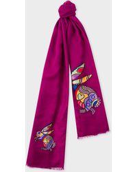 Paul Smith - Purple 'Karami Rabbit' Wool Scarf - Lyst