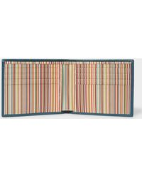 Paul Smith - Teal Signature Stripe Interior Billfold Wallet - Lyst