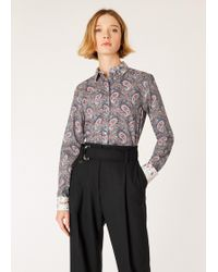 Paul Smith - Paisley Print Shirt With Contrast Cuffs And Collar - Lyst