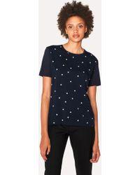 Paul Smith - Navy Polka Dot Modal T-Shirt - Lyst