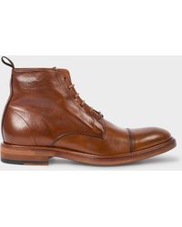 Paul Smith - Men's Dip-dyed Tan Calf Leather 'jarman' Boots - Lyst