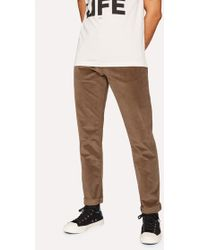 Paul Smith - Tapered-Fit Brown Stretch-Cotton Corduroy Trousers - Lyst