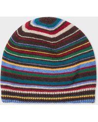 Paul Smith - Signature Stripe Wool-Cashmere Beanie Hat - Lyst