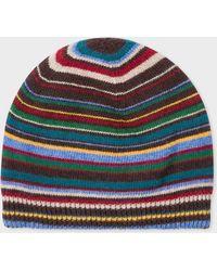 ed6b5f317e01e Lyst - Paul Smith Men s Blue Signature Stripe Wool-blend Beanie Hat ...