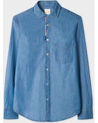 Paul Smith - Tailored-Fit Blue Chambray Shirt With 'Artist Stripe' Placket Embroidery Detail - Lyst