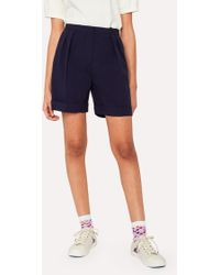 Paul Smith - Women's Navy Mini Check Wool Shorts - Lyst