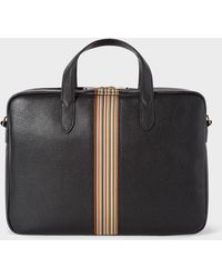 Paul Smith - Black Signature Stripe Slim Leather Business Folio - Lyst