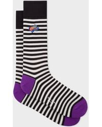 Paul Smith - Black And White Stripe Socks With 'Dreamer Frog' Embroidery - Lyst