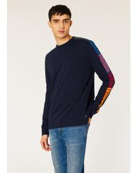 Paul Smith - Dark Navy Long-sleeve T-shirt With Stripe Sleeve Detail - Lyst