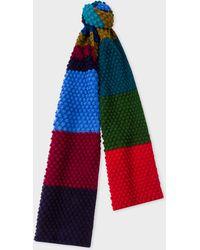 Paul Smith - Navy Stripe Wool Crochet Scarf - Lyst
