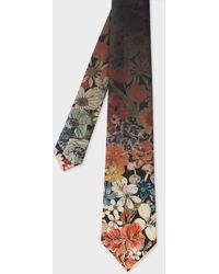 Paul Smith - Faded Floral Print Silk Tie - Lyst