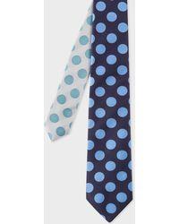 Paul Smith - Cravate Homme À Pois Marine Et Bleu Ciel Bout Contrastant En Soie - Lyst