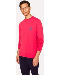 Paul Smith - Coral Pink Cotton Embroidered 'Dino' Sweatshirt - Lyst