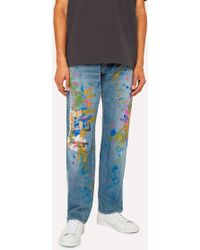 Paul Smith - Jean Homme Délavage Clair Coupe Standard 'Paint Splash' - Lyst