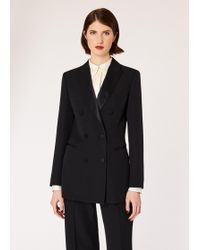 Paul Smith - Black Double-Breasted Tuxedo Blazer With Satin Details - Lyst