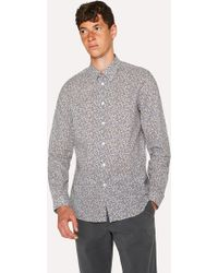 Paul Smith - Tailored-Fit Navy 'Fig Leaf' Print Shirt - Lyst