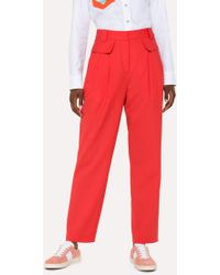 Paul Smith - Red Wool Pleated Trousers - Lyst