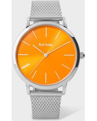 Paul Smith - Unisex Orange And Stainless Steel 'Ma' Watch - Lyst