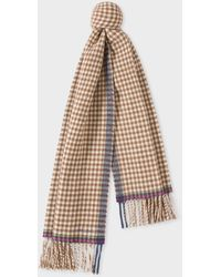 Paul Smith - Brown Check Double-Sided Wool Scarf - Lyst