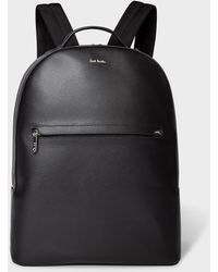 Paul Smith - Black Embossed Leather Backpack With 'bright Stripe' Trims - Lyst