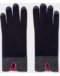 Paul Smith - Dark Navy Wool Gloves With 'Swirl' Piping - Lyst