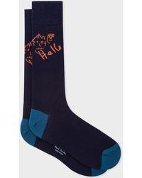 Paul Smith - Navy 'Paul's Quotes' Ribbed Socks - Lyst