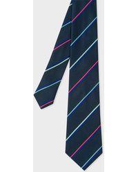 Paul Smith - Navy Thin Stripe Narrow Silk Tie - Lyst