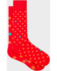 Paul Smith - Red Odd Socks With Orange And Turquoise Polka Dots - Lyst