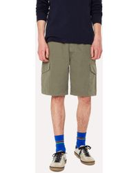 Paul Smith - Washed Green Cotton-Linen Cargo Shorts - Lyst