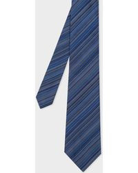 Paul Smith - Men's Navy Thin Diagonal Stripe Silk Tie - Lyst