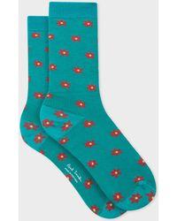 Paul Smith - Turquoise 'Daisy Polka' Pattern Socks - Lyst