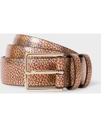 Paul Smith - Bronze Leather Double Keeper Belt - Lyst