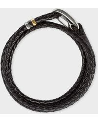 Paul Smith Dark Brown Leather Wrap Bracelet