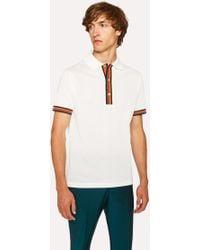 Paul Smith - Slim-Fit White Cotton-Piqué Polo Shirt With 'Artist Stripe' Details - Lyst