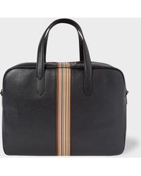 Paul Smith - Sac Week-End 'Signature Stripe' En Cuir Noir - Lyst