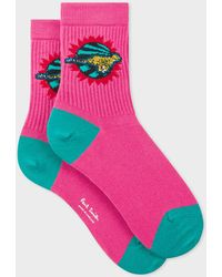 Paul Smith Pink 'live Faster' Motif Ribbed Socks