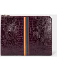 Paul Smith - Burgundy 'Bright Stripe' Mock-Croc Leather Document Pouch - Lyst