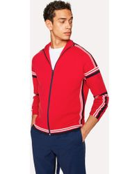 Paul Smith - Red Cotton Funnel-Neck Zip-Front Cardigan - Lyst