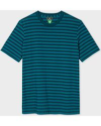 Paul Smith - Teal And Navy Stripe Organic-Cotton T-Shirt - Lyst