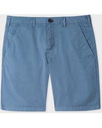Paul Smith - Blue Garment-dyed Stretch Pima-cotton Shorts - Lyst