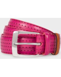 Paul Smith - Pink Embossed Dot Burnished Leather Belt - Lyst