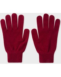 Paul Smith - Burgundy Cashmere-Blend Gloves - Lyst