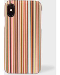 Paul Smith - Signature Stripe Leather iPhone X Case - Lyst