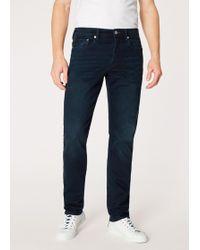 Paul Smith - Standard-Fit 'Crosshatch Stretch' Navy Over-Dye Jeans - Lyst