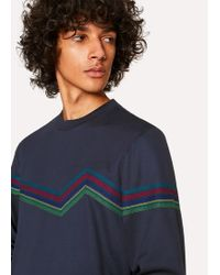 Paul Smith - Navy 'PS Sports Stripe' Embroidery Cotton-Blend Sweatshirt - Lyst